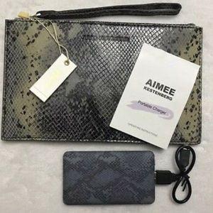 Aimee Kestenberg Pebble Leather Snakeskin Pouch